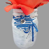 Hand Painted Distressed Mason Jar - White with Blue Decor - Rustic Decorated Vase