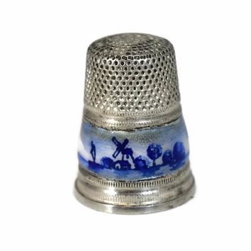 1950s Sterling Silver Thimble Gabler Co. Germany Blue White Enameling Netherlands Import