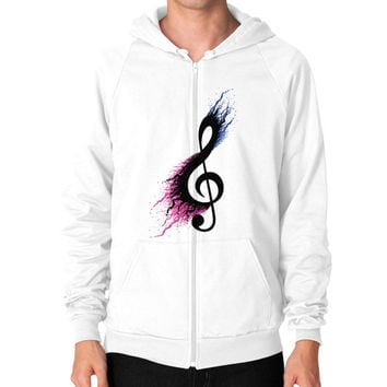 Music sign spill Zip Hoodie (on man)