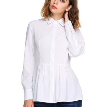 White Long Sleeve Slim Pleated Hem Tunic Solid Button Down Shirt