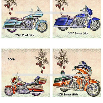 Harley Touring Motorcycles Altered Art - Coasters Artwork, 4.0 inch Squares, Arts and Craft Projects