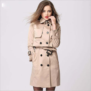 Spring And Autumn New Style Two-Piece Dress Dust Coat Medium style Runway Catwalk Khaki Plus Size Double Breasted Windbreaker