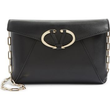 Valentino V-Clasp Calfskin Leather Envelope Clutch | Nordstrom