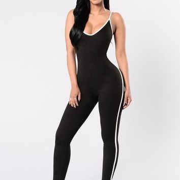 Moving On Up Jumpsuit - Black/White | Fashion Nova