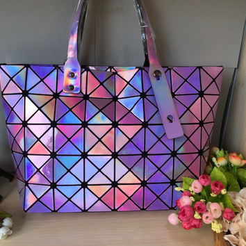 Fashion BAOBAO bag for Wome Diamond Geometry Lattice bag Tote women's handbags hologram laser bao bao bag famous logo inside