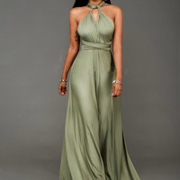 Multi-Way Straps V-Neck Maxi Dress