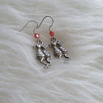 Coupled Cat Earrings - Handmade, Pewter, Swarovski Crystal, Dangle, Sparkle, Pink, Cats, Cat Lovers, Pet, Pet Owners, Animals, Rescue, Tabby