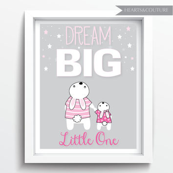 Printable Nursery Art, Dream Big Little One, Nursery Art Download, Pink Grey, Nursery Printable, Stars, Bunny, Instant Download