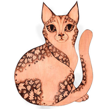 Cat Wall Hanging, Pyrography wood wallhanging, Wood burning, Cat Wall art, cat decor, cat gift, kitten wall decor, kitten decor, cat lover