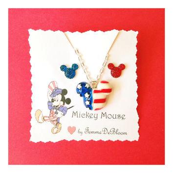 Patriotic American Flag Mickey Mouse Necklace and Earring Set