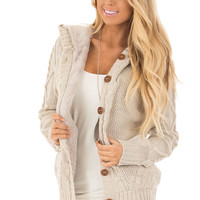 Taupe Cable Knit Button Up Sweater with Faux Fur Lining