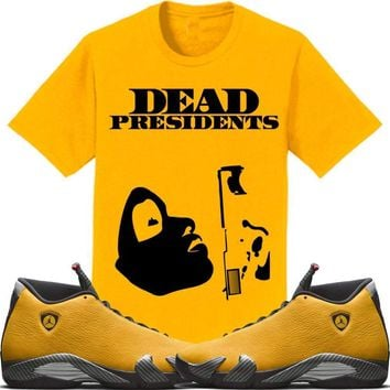 Jordan 14 Alternate Ferrari Gold Sneaker Tees Shirt to Match - PRESIDENT