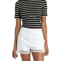 Black Combo Striped Mock Neck Crop Top by Charlotte Russe