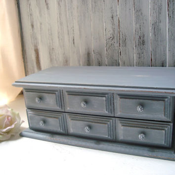 Gray Vintage Jewelry Box, Smokey Grey Wooden Jewelry Holder, Cottage Chic Gray Jewelry Chest, Gray and Yellow, Shabby Chic Jewelry Box