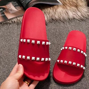 Valentino Popular Women Comfortable Beach Home Rivets Flats Sandals Slipper Shoes Red I-ALS-XZ