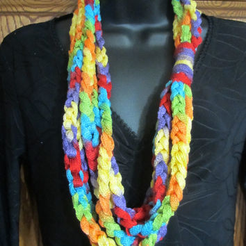 Rainbow Colors LGBT Crocheted Infinity Rope Braid Scarf