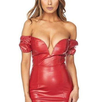 For the Thrill of It Faux Leather Bodycon Mini Dress