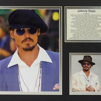 "Johnny Depp - II 11"" x 14"" Unframed Matted Photo Collage by Legends Never Die, Inc."
