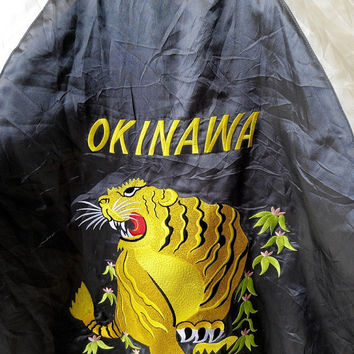 CRAZY SALE 25% Vintage Japan SUKAJAN Okinawa Tiger Roar Gold Eagles 80's Embroidery Tokyo Embroidered Souvenir Reversible Satin Jacket L