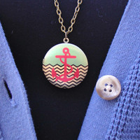 Locket Necklace - Charm Necklace - Anchor Locket Necklace - Delicate Necklace - Picture Locket - Locket Pendant - Memory Locket