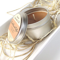 Soy Candle - Fresh Brewed Coffee scented Soy Candle Tin -- 8 ounce Tin