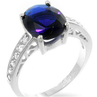 Evelina Sapphire Oval Solitaire Engagement Ring   3ct   Cubic Zirconia   Sterling Silver