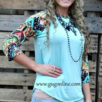Wondering Eye Aqua Baseball Tee in Red and Yellow Tribal Sleeves