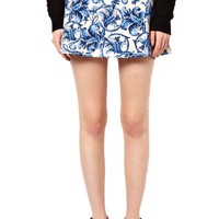 Blue and White Floral Printed Skirt