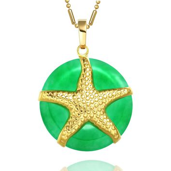 Amazing and Beautiful Sea Star Lucky Charm Donut Gold-Tone Green Simulated Jade Amulet Necklace