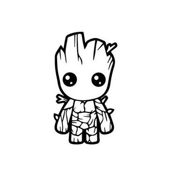 Baby Groot Guardians of the Galaxy Silhouette Vinyl Decal Sticker