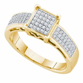 10kt Yellow Gold Womens Round Diamond Square Cluster Bridal Wedding Engagement Ring 1/5 Cttw
