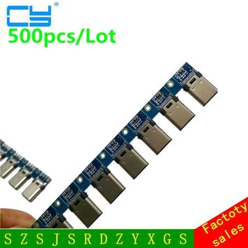 500pcs DIY OTG USB-3.1 Welding Male jack Plug USB 3.1 Type C Connector with PCB Board Plugs Data Line Terminals for Android