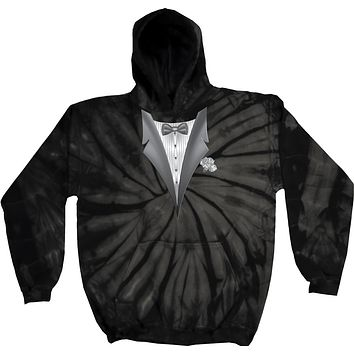 Buy Cool Shirts Tuxedo Hoodie White Flower Tie Dye Hooded Sweatshirt