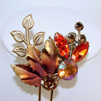 Woodland Fall Wedding Rhinestone Hair Comb Leaf Flower Gold Amber Aurora Borealis Celosia Orange Topaz Crystal Vintage Jewelry Accessory