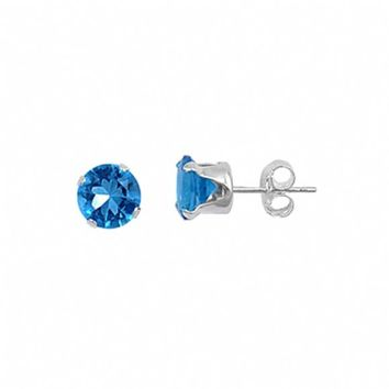 Sterling Silver Round 1.5 Carat December Blue Zircon Birthstone Stud Earrings