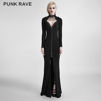 PUNK RAVE Women Novelty Gothic Heavy Punk Dress high elastic fleece fabric slim-fitting style design Floor Length Dress