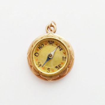 Victorian French Compass Charm / Antique Compass Jewelry
