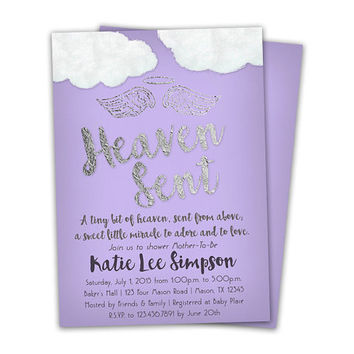 Purple Heaven Sent Baby Shower Invitation - Purple Girl Baby Shower Invitations - Piece of Heaven Silver Foil Lavender Grey - Vintage Baby