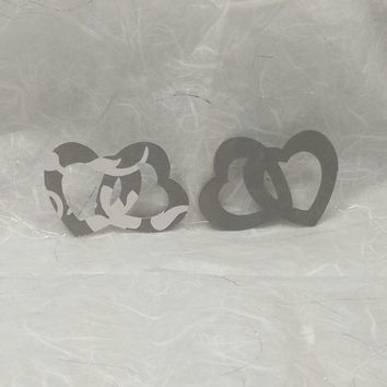 12 Linked Gray and White Printed Open Hearts, Scrapbooking, Embellishment, Card Making, Wedding and Valentine Decoration
