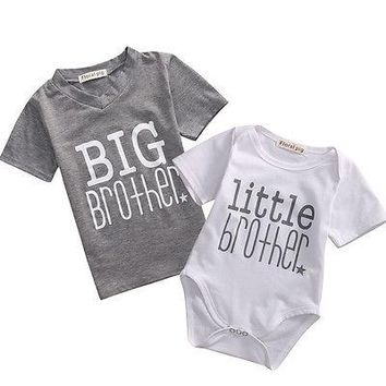 Emmababy Newborn Baby Boys Short Sleeve Cotton Bodysuit Big Brother T-shirt Tops Outfits Family Set