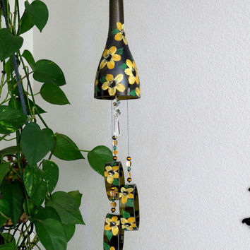 Wine bottle windchime, Amber wind chime, Yellowish Orange flowers, yard art, patio decor, recycled bottle wind chime, hand painted chime