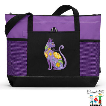 Personalized Zippered Flower Power Cat Tote Bag with Mesh Pockets, Beach Bag