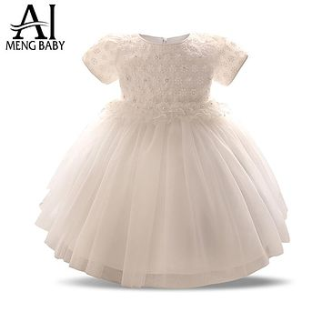 Ai Meng Baby Girl 1 Year Birthday Dress Baby Frock Designs Infant Christening Gown Toddler Girl Clothing Little Princess Dress