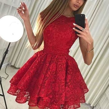 Red Full Lace short Homecoming Dresses