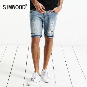 SIMWOOD 2017 Summer New  Denim Shorts Men Fashion Hole Ripped Jeans Slim Fit Brand Clothing ND017006