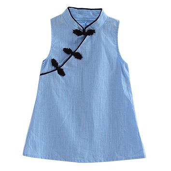 3-7Y Summer Baby Girls Dresses Chinese Traditional Dress Cheongsam Vintage Solid Color Sleeveless Dresses