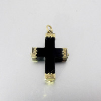Victorian Whitby Jet Cross Pendant. 14K Engraved Yellow Gold. Antique Victorian Mourning Jewelry