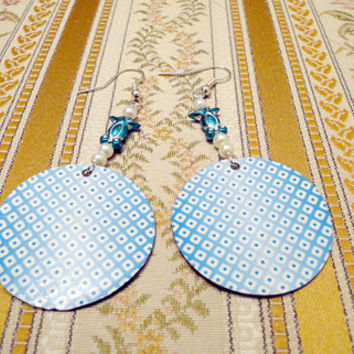 Paper earrings in light blue and white made from by NellinShoppi