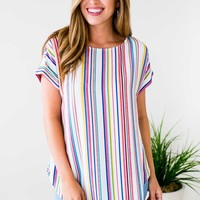 Good Vibes Vertical Rainbow Stripe Top