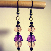 "Pierced Earrings Dangles ""Nicola"" Peachy Pink and Purple 1 Pair"